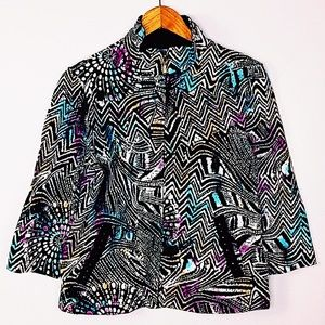 ONQUE PETITE 100% COTTON JACKET Abstract design
